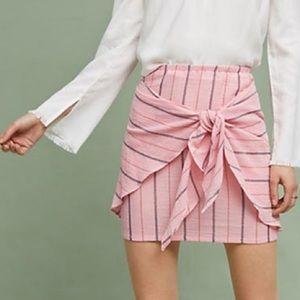 Anthropologie Pink Tie Waist Skirt Size M